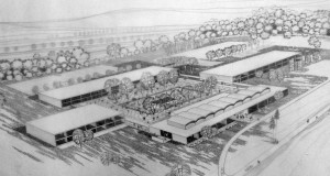 Concept drawing for the Northern Electric Campus, March 1959. (Source: John Bland Archives, McGill University, Bland 610.)